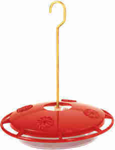 Hummzinger Ultra hummingbird feeder with ant moat and bee guard tips. Learn more